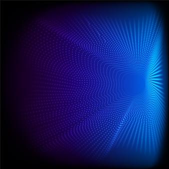Abstrakcyjne dynamiczne kropki falują cząstki wzoru 3d na niebieskim tle i teksturze duże dane ilustracja renderowania cyfrowego