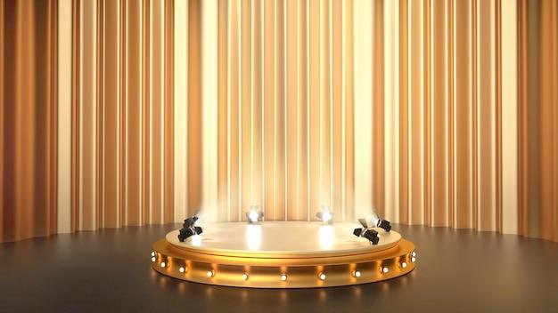 Abstrakcyjne geometryczne tło platformy ze złotymi zasłonami i podium dla produktu stoiska