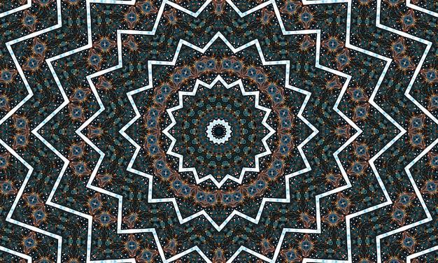 Abstrakcyjne kolorowe kwiaty koncepcja flory symetryczny wzór ozdobny dekoracyjny ruch kalejdoskopu geometryczny kształt koła i gwiazdy