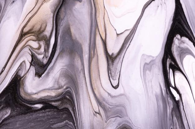 Abstrakcyjne kolory tła sztuki płynnej czerni i bieli