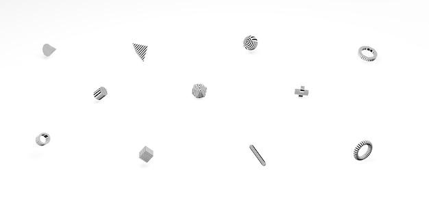 Abstrakcyjne kształty geometryczne 3d proste tło z kostkami minimalny styl ilustracji 3d