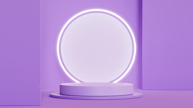 Abstrakcyjne kształty geometryczne podium do wyświetlania produktów na fioletowym tle
