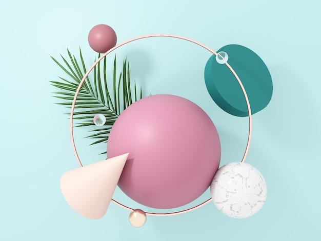 Abstrakcyjne, latające obiekty geometryczne i tropikalne liście palmowe - renderowanie 3d.