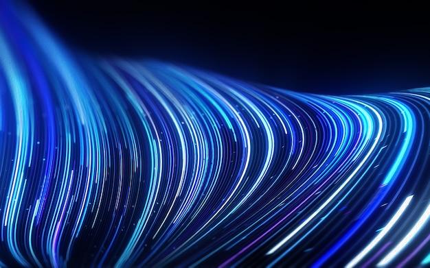 Abstrakcyjne linie płynące dynamicznym wzorem w niebieskich kolorach na czarnym tle