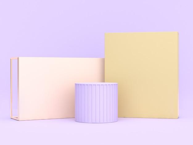 Abstrakcyjne miękkie fioletowo-fioletowe tło geometryczny kształt renderowania 3d