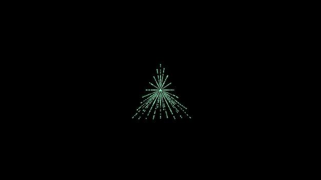 Abstrakcyjne minimalistyczne czarne tło z trójkątami pośrodku neonowy zielony trójkąt
