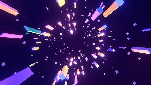 Abstrakcyjne neonowe długie kostki tło 3d renderuje obraz