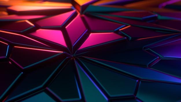 Abstrakcyjne neonowe kolory tła 3d z losowymi wielokątnymi kształtami