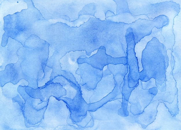 Abstrakcyjne niebieskie tło akwarela jasna niebieska abstrakcja handdrawn akwarela tekstury