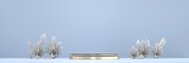 Abstrakcyjne podium platformy scenicznej z kryształem, do wyświetlania produktów reklamowych, renderowania 3d.