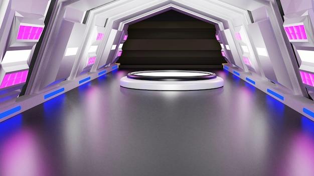 Abstrakcyjne renderowanie 3d platformy na targi odcienie stylu laboratorium naukowe