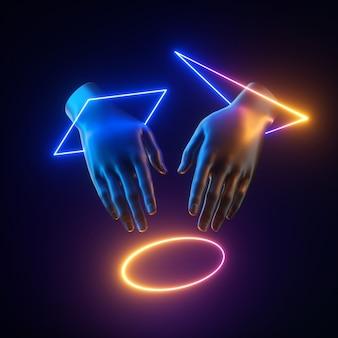 Abstrakcyjne sztuczne dłonie z lewitującymi kolorowymi kształtami geometrycznymi światła neonowego.