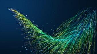 Abstrakcyjne tło z animacji świecące cząstki przesuwając linie do kabli światłowodowych sieci rozłożone na ramie.