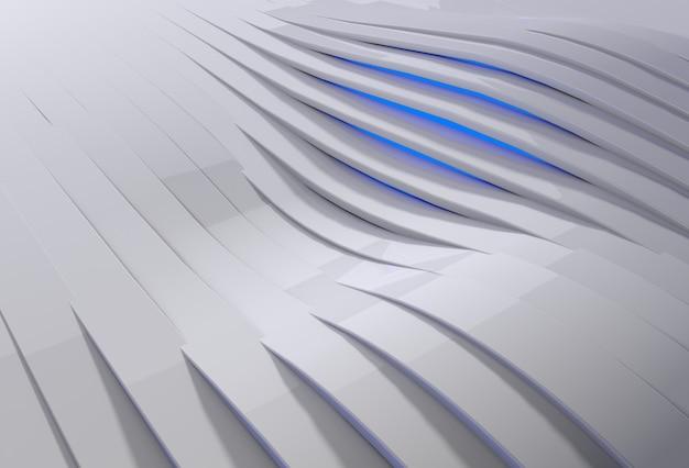 Abstrakcyjne tło 3d z białymi plastikowymi falami i niebieskim światłem prześwitującym