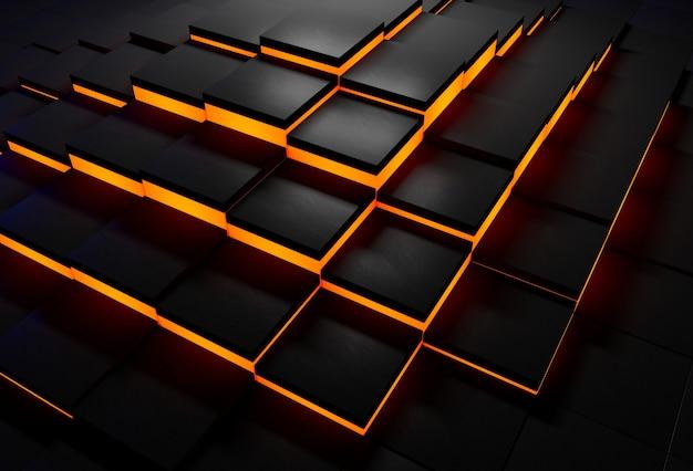 Abstrakcyjne tło czarnych płytek ze świecącymi pomarańczowymi krawędziami