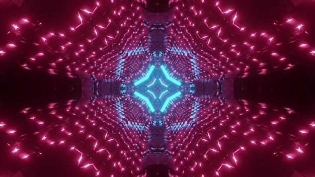 Abstrakcyjne tło futurystycznego tunelu z geometrycznymi kształtami świecącymi niebieskimi i różowymi neonami