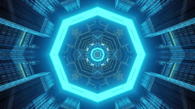 Abstrakcyjne tło geometryczne przez niekończący się tunel w futurystycznym stylu z ośmiokątnymi ramkami oświetlonymi jasnymi lampami neonowymi