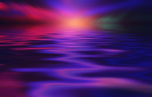 Abstrakcyjne tło neonowe wielokolorowe światło odbija się od wody pokaz świateł na plaży
