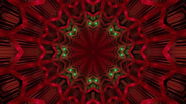Abstrakcyjne tło niekończącego się czerwonego tunelu z geometrycznymi kształtami i zielonym neonowym oświetleniem