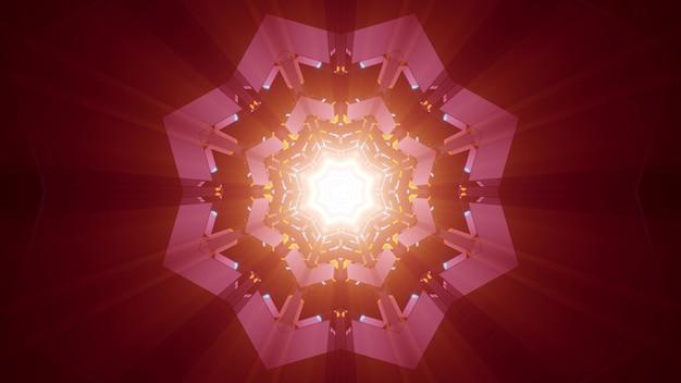 Abstrakcyjne tło ozdobnego tunelu w kształcie gwiazdy świecące jasnym czerwonym światłem