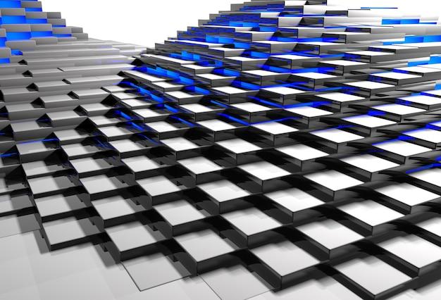 Abstrakcyjne tło powierzchni wykonane z metalowych bloków świecących niebieskim światłem