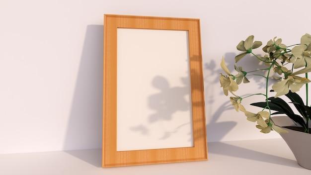 Abstrakcyjne tło, puste ramki na zdjęcia drewna z kwiatami