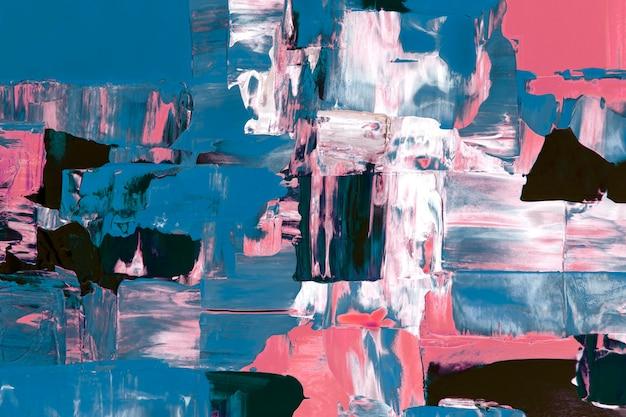 Abstrakcyjne tło tapety, niebieska i różowa farba akrylowa teksturowana