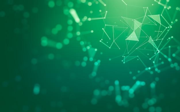 Abstrakcyjne tło. technologia cząsteczek o wielokątnych kształtach, łączących kropki i linie. struktura połączeń. wizualizacja dużych danych.