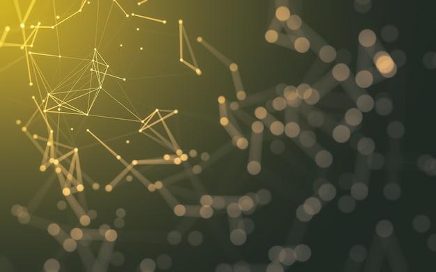 Abstrakcyjne tło. technologia cząsteczek o wielokątnych kształtach, łączących kropki i linie. struktura połączenia. wizualizacja dużych zbiorów danych.