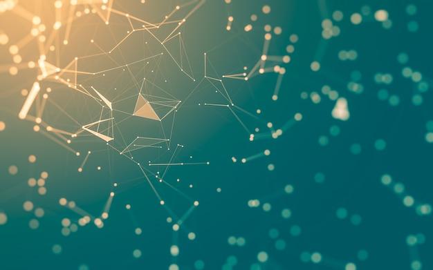 Abstrakcyjne tło. technologia cząsteczek o wielokątnych kształtach, łączących kropki i linie