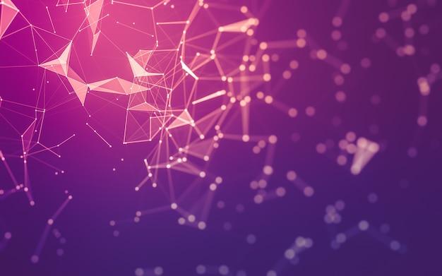 Abstrakcyjne tło. technologia cząsteczek o wielokątnych kształtach, łączących kropki i linie.