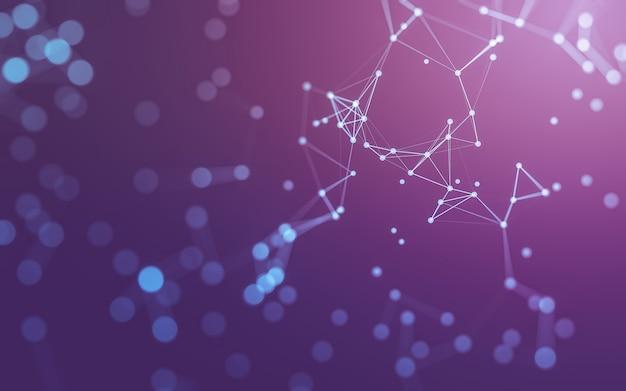 Abstrakcyjne tło. technologia molekuł o wielokątnych kształtach, łączących kropki i linie.