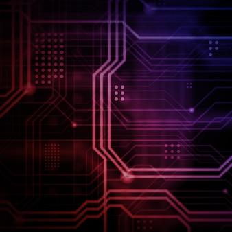 Abstrakcyjne tło technologiczne składające się z wielu świetlistych linii prowadzących