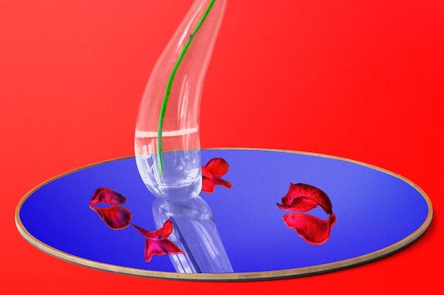 Abstrakcyjne tło, trippy czerwony kwiat róży