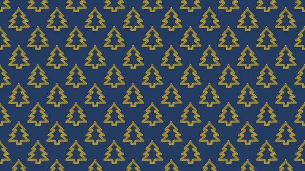 Abstrakcyjne tło wielu złotych choinek na ciemnoniebieskim