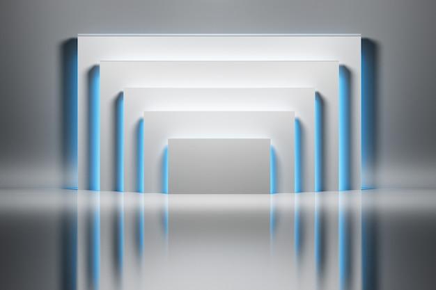 Abstrakcyjne tło z białymi prostokątami oświetlone przez niebieskie świecące światło na błyszczącej powierzchni odbijającej.