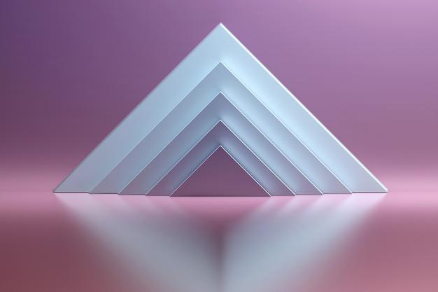 Abstrakcyjne tło z białymi trójkątnymi kształtami na błyszczącej powierzchni odbijającej. różowa przestrzeń z geometrycznymi prymitywnymi kształtami - białe piramidy.