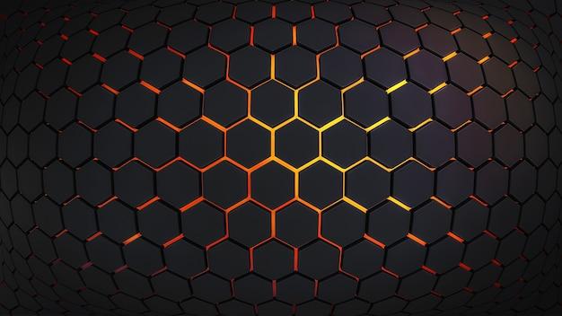Abstrakcyjne tło z ciemnymi sześciokątami i lawą na dole