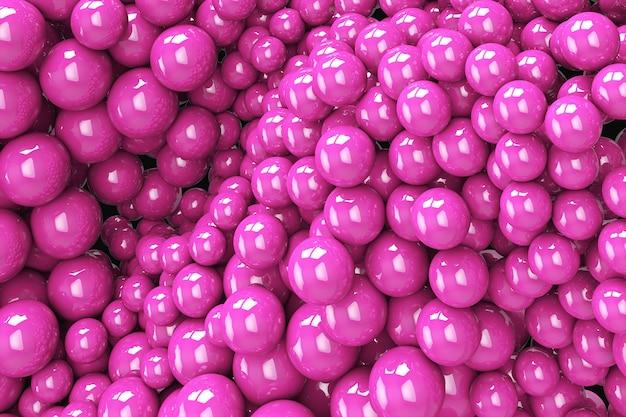 Abstrakcyjne tło z dynamicznymi sferami 3d. plastikowe miękkie, różowe bąbelki. 3d ilustracja błyszczących kulek. nowoczesny modny projekt banera lub plakatu