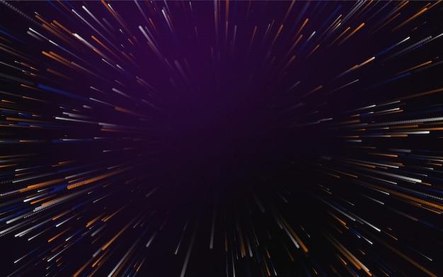 Abstrakcyjne tło z magicznymi liniami złożonymi ze świecącej przestrzeni