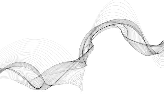 Abstrakcyjne tło z monochromatycznymi liniami fal na białym tle