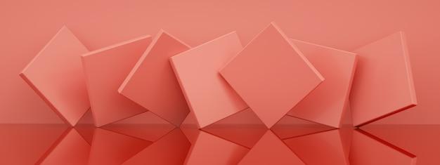 Abstrakcyjne tło z różowymi geometrycznymi kształtami, renderowanie 3d, obraz panoramiczny