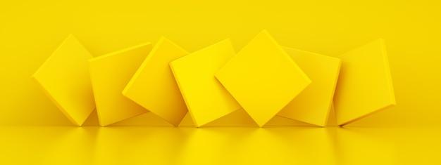 Abstrakcyjne tło z żółtymi geometrycznymi kształtami, renderowanie 3d, obraz panoramiczny