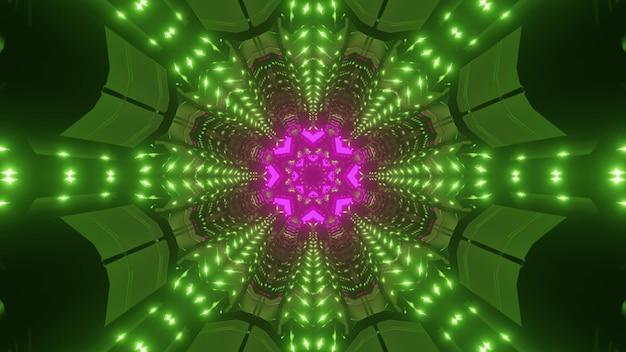 Abstrakcyjne tło żywego niekończącego się korytarza geometrycznego oświetlonego różowymi i zielonymi światłami