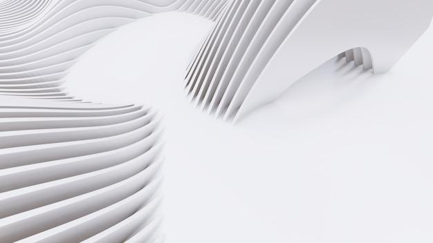 Abstrakcyjne zakrzywione kształty. białe okrągłe tło. abstrakcyjne tło. ilustracja 3d