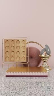 Abstrakcyjne złote podium z marmurowym drewnem i kamieniem