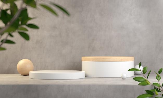 Abstrakcyjny biały i drewniany wyświetlacz podium dla produktów pokazowych 3d render