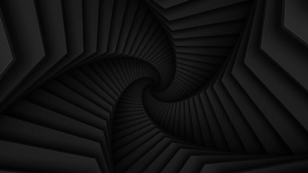Abstrakcyjny ciemny skręcony tunel zbudowany w kształcie gwiazdy