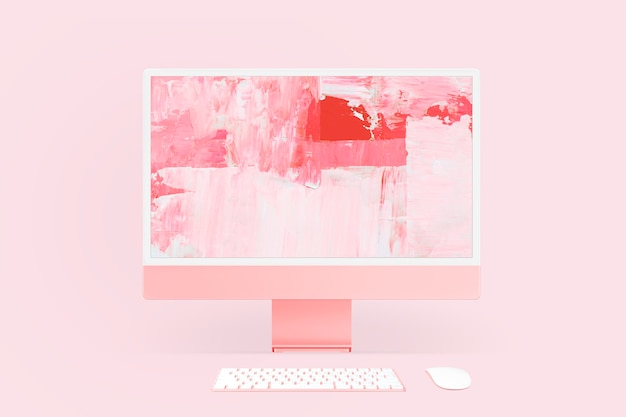 Abstrakcyjny ekran komputera z różowym wygaszaczem ekranu
