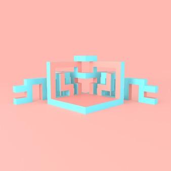 Abstrakcyjny izometryczny układ rozszerzającej się sześcianu 3d ilustracji